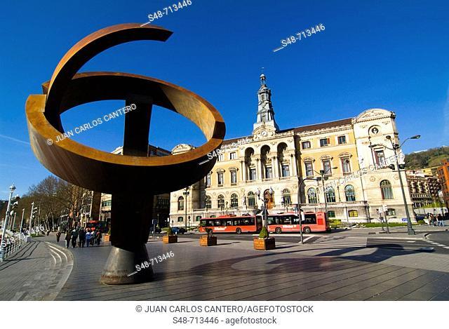 'Variante ovoide de la desocupación de la esfera', sculpture by Jorge Oteiza. City Hall. Bilbao. Bizkaia. Euskadi. Spain