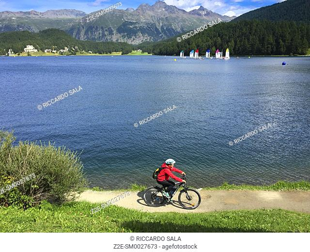 Switzerland, Graubunden Canton, Saint Moritz, Lake