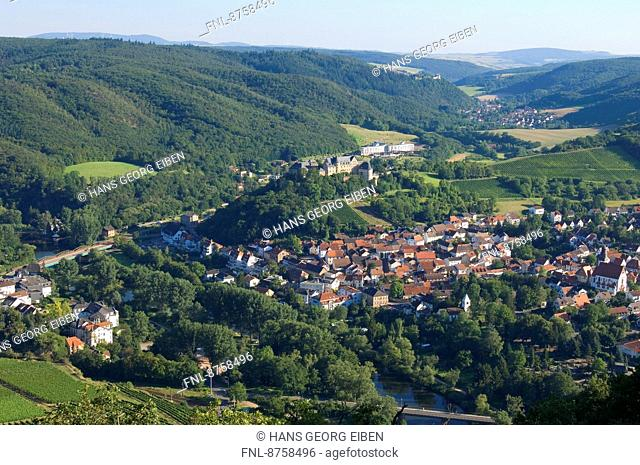 View from Rotenfels on Bad Muenster am Stein-Ebernburg, Rhineland-Palatinate, Germany