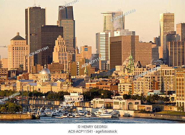 View of Montreal at sunrise from Ile Sainte-Helene, Montreal, Quebec, Canada