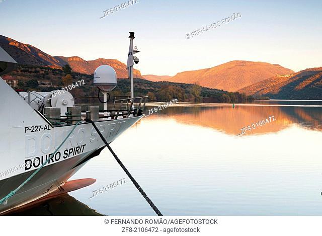 Douro tour-boat ancored at Barca de Alva, Portugal