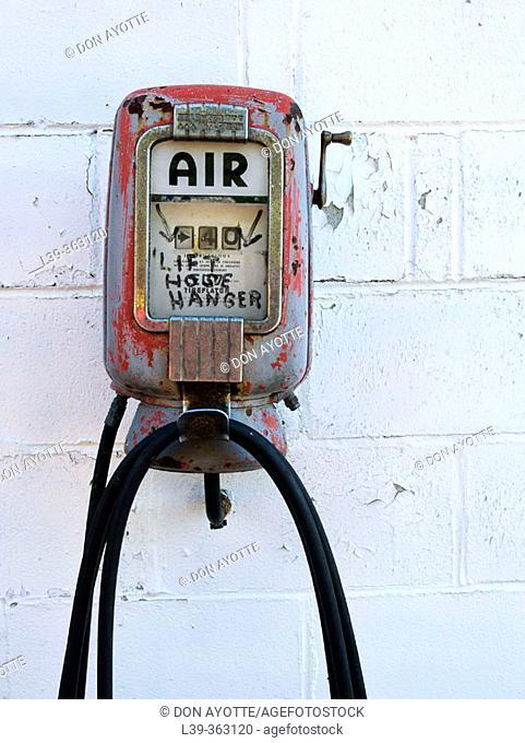 Air pump at an old gas station. Florida, Massachusetts. USA