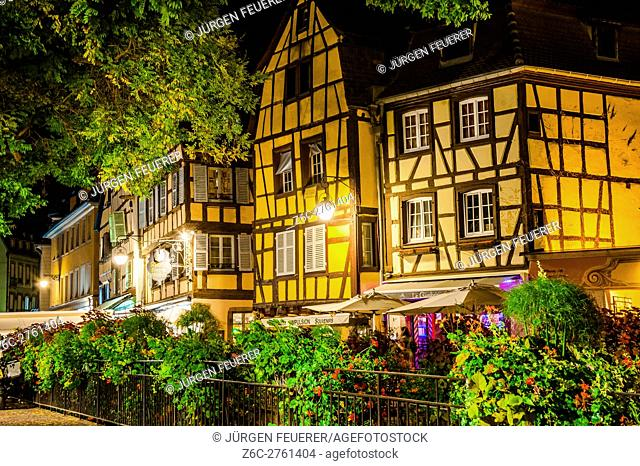 Colmar, scenic picturesque town at night, Alsace, France