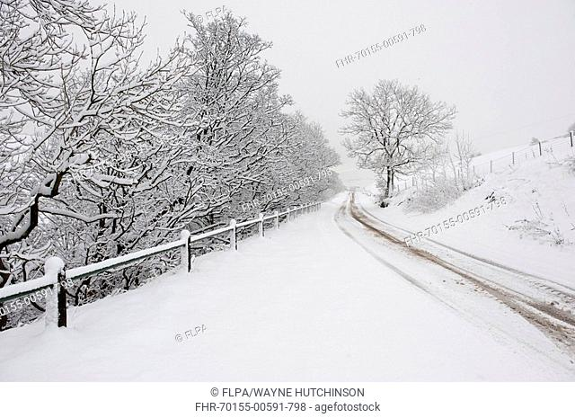 Snow covered rural road, A683 between Sedbergh and Kirkby Stephen, Cumbria, England, winter