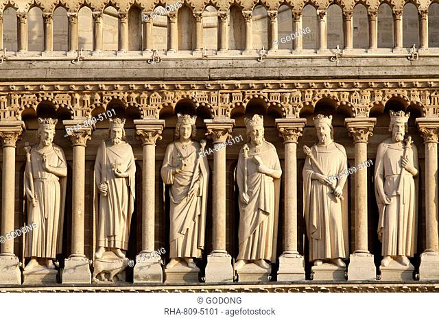 Kings' Gallery, Western facade, Notre Dame cathedral, Paris, France, Europe