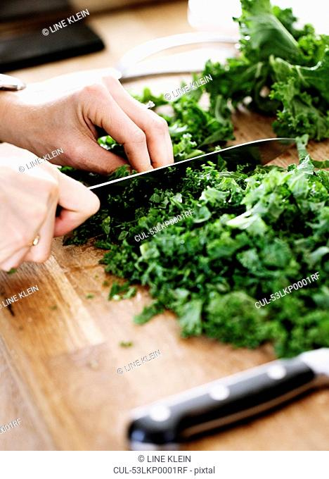 Close up of woman chopping vegetables