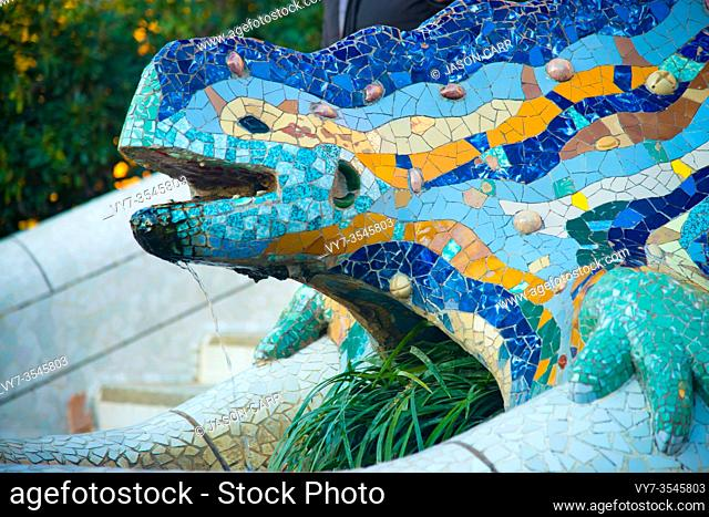 BARCELONA, SPAIN - January 30, 2019: Parc Guell is located in Barcelona, Spain. It is a park designed by an artist Antoni Gaudi