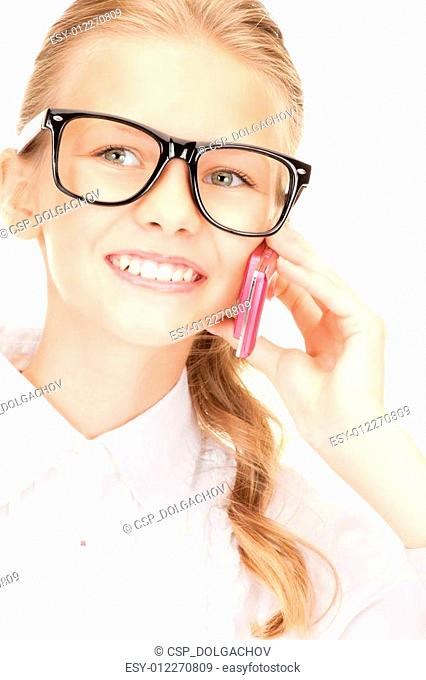 happy girl with cell phone