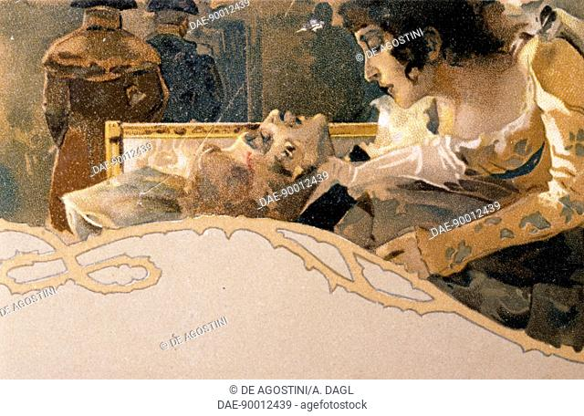 Postcard illustrated by Leopoldo Metlicovitz (1868-1944) depicting scenes from Tosca, opera by Giacomo Puccini (1858-1924). Detail