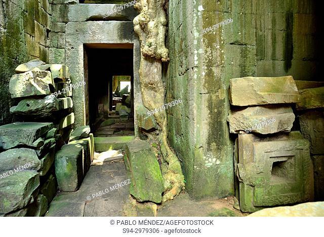Hallway of Preah Khan, Angkor area, Siem Reap, Cambodia