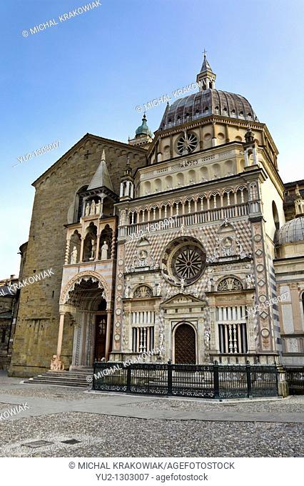 Front of The Basilica of Santa Maria Maggiore seen from Piazza Duomo  Bergamo, Italy