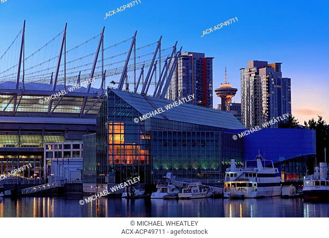 The Edgewater Casino and BC Place with Harbour Centre in the background, Vancouver, BC, Canada