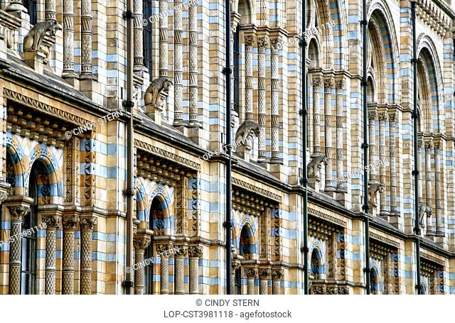 England, London, South Kensington. Terracotta tiles on the outside of the Waterhouse building of the Natural History Museum