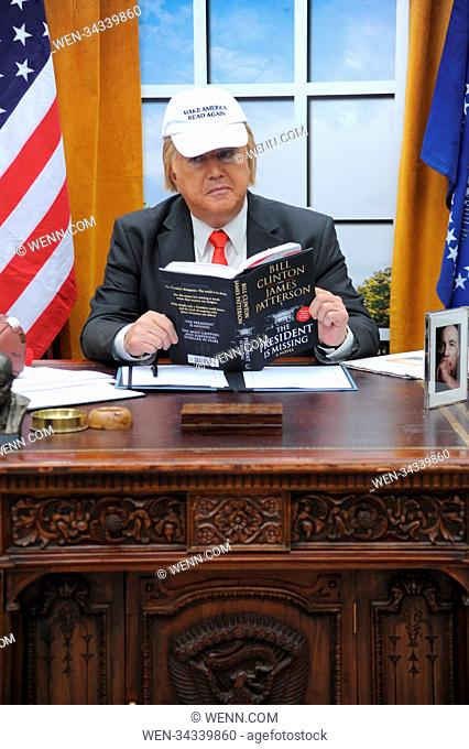 A President Trump lookalike brings the Oval Office to London's Waterloo station, to mark the global release of James Patterson and Bill Clinton's co-authored...