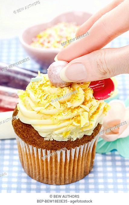 Easter colorful cupcakes. Festive and party dessert