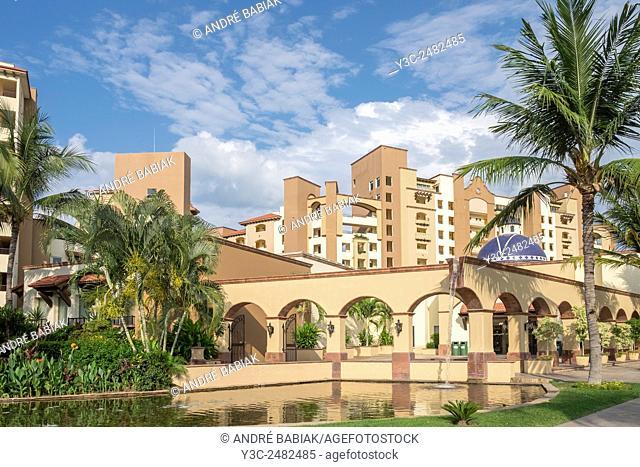 Villa La Estancia Condominium Resort as seen from Paseo de Los Cocoteros, Nuevo Vallarta, Nayarit, Mexico
