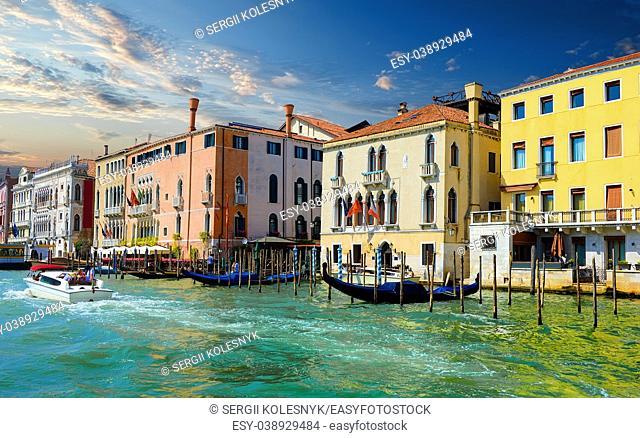 Sunny summer evening in romantic Venice, Italy