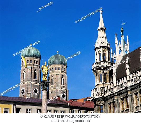 View from Marienplatz to the steeples of Frauenkirche with St Maries column and parts of the New city Hall on the right Munich Upper Bavaria Germany