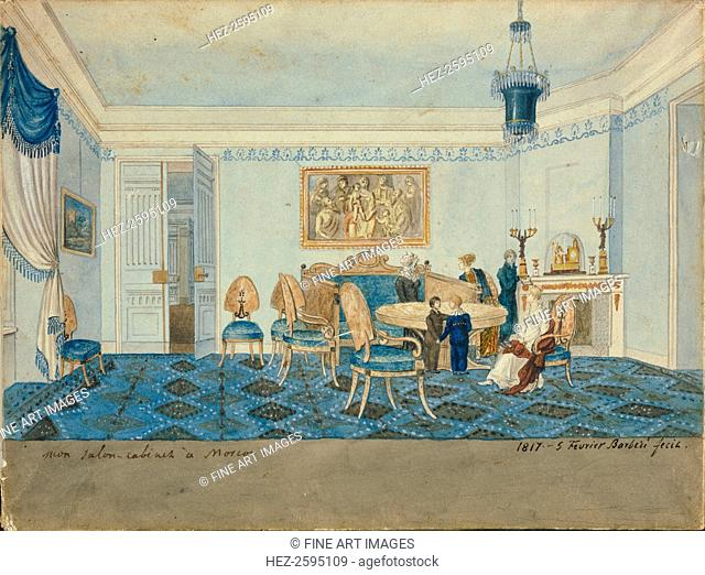 Salon Interior in the House of Zinaida Volkonskaya in Moscow, 1817. Found in the collection of the State Tretyakov Gallery, Moscow