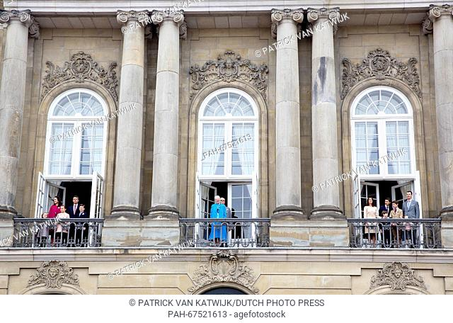 Princess Josephine (L-R), Crown Princess Mary, Princess Isabella, Crown Prince Frederik and Prince Christian of Denmark on the balcony left with Queen Margrethe...