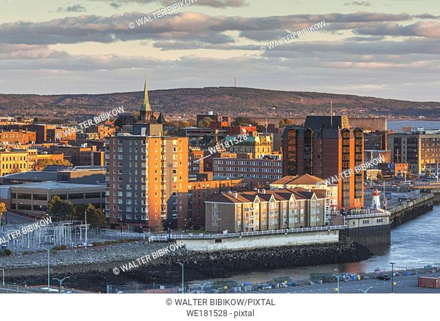 Canada, New Brunswick, Saint John, skyline from Saint John Harbour, sunset