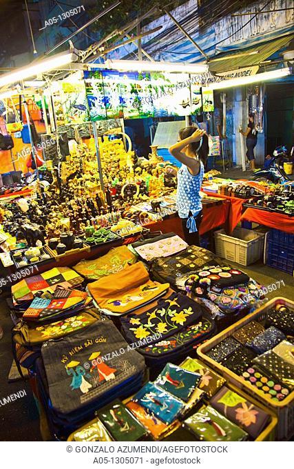 Night market around Ben Thanh Market. Ho Chi Minh City (formerly Saigon). South Vietnam
