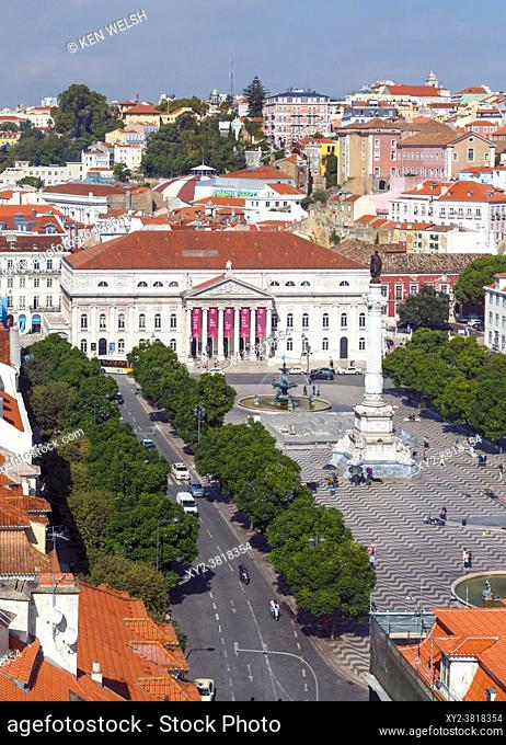 Lisbon, Portugal. Praca Dom Pedro IV, commonly known as Rossio. The white building is the National Theatre, Teatro Nacional Dona Maria II