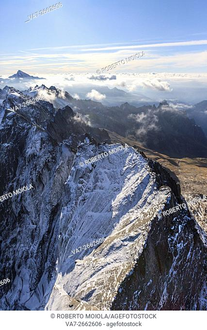 Flying over the north wall of the Piz Badile located between Masino and Val Bregaglia borders Italy Switzerland Europe