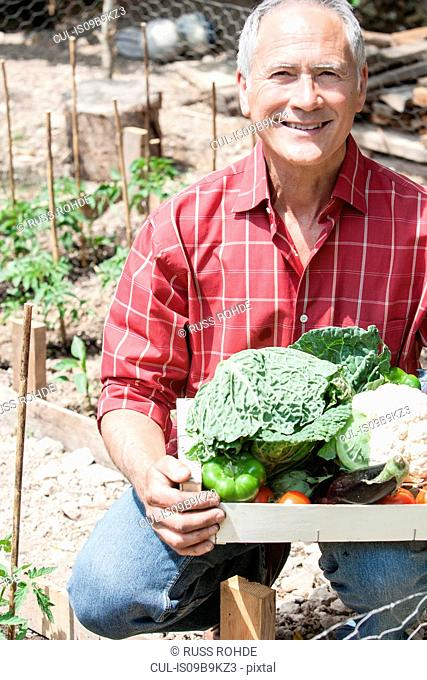 Man with box of homegrown vegetables
