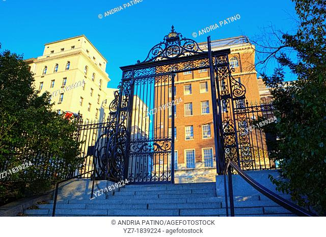 The Vanderbilt Gate is considered one of the finest examples of wrought iron work in New York City, New York, USA