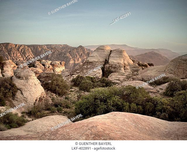Rock formations at Dana nature reserve, UNESCO world herritage, Dana, Jordan, Middle East, Asia