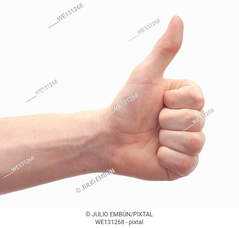 hand and arm of a young man gesturing