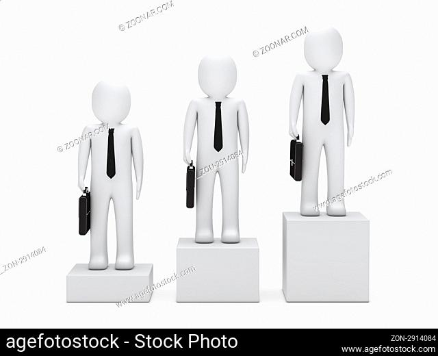 3d business man stand on a box