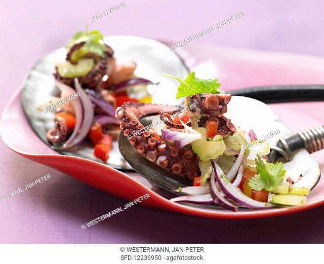 Octopus and vegetable salad with chili, coriander and peppers
