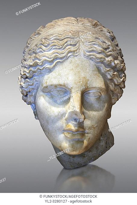 Roman marble head of Aphrodite (Venus) known as the â. œKaufmann headâ. . once conserved in Berlin. Circa 150 BC found in Asia Minor