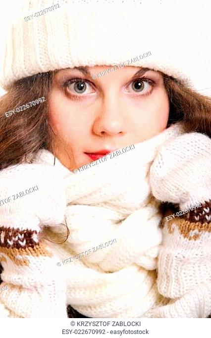 beautiful woman in warm clothing winter