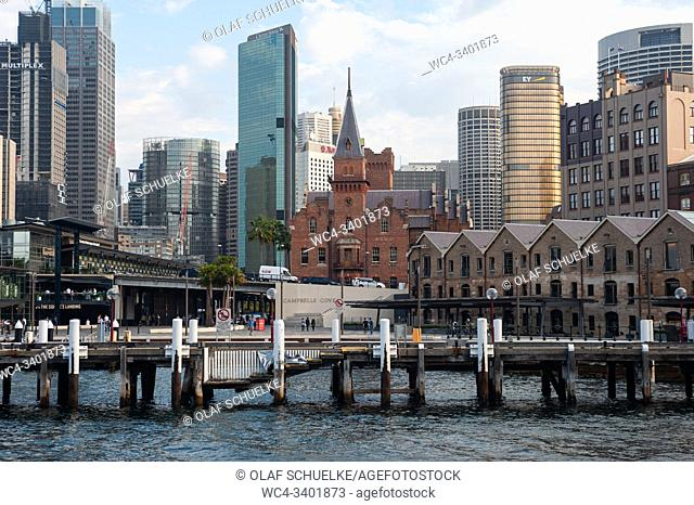 Sydney, New South Wales, Australia - View across Campbells Cove of the city skyline in the central business district and The Rocks district