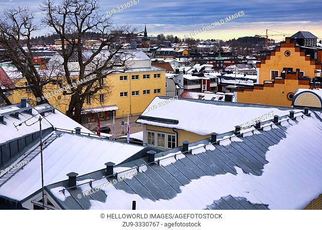 Winter rooftop panorama, Norrtalje, Stockholm County, Sweden, Scandinavia