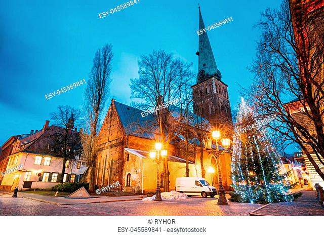 Riga, Latvia. Cathedral Basilica Of St. James, Pyramidal Monument To Barricades And Perished People On January 20, 1991 And Holiday Xmas Christmas Tree At...