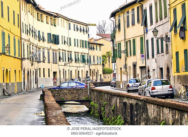 Canal water, Via del Fosso street, Lucca, Tuscany, Italy, Europe
