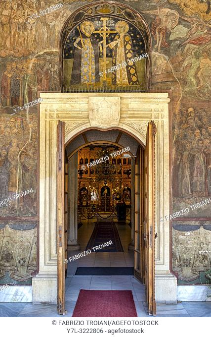 Frescoes on the main entrance of the Romanian Orthodox Patriarchal Cathedral, Bucharest, Romania
