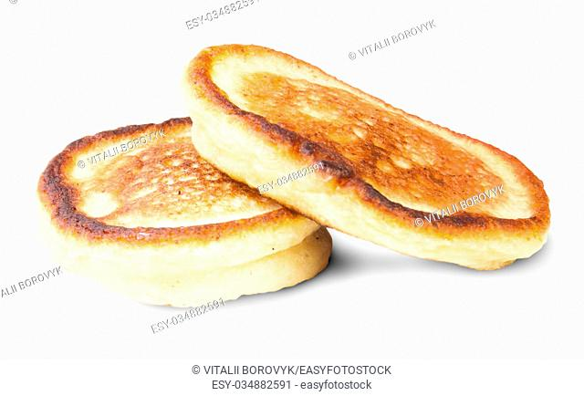 Two Sweet Pancakes Isolated On White Background