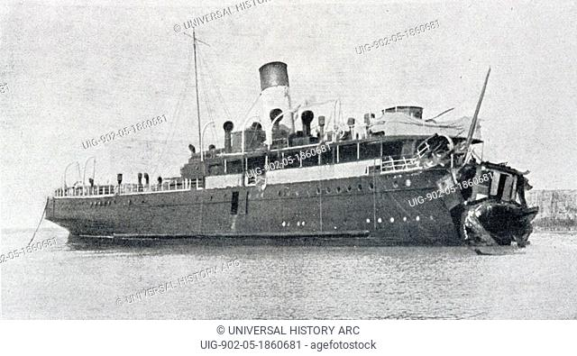 French cross Channel ferry Sussex after being torpedoed by German submarine. From 'L'Illustration' magazine 1916