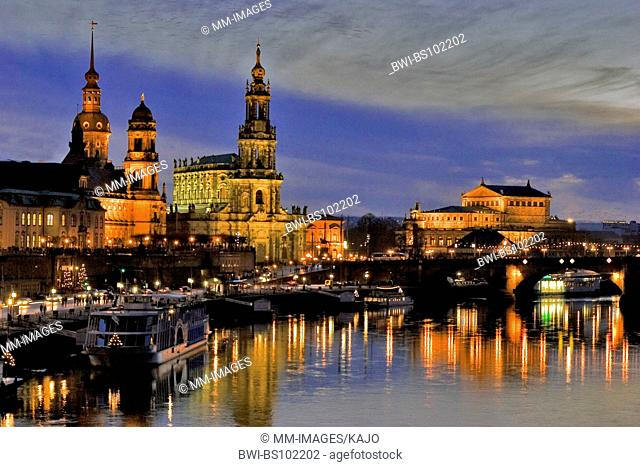 Skyline of Dresden with Elbe river, Germany, Saxony, Dresden