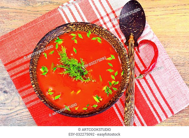 Tomato Soup with Basil in Plate. National Italian Cuisine Studio Photo