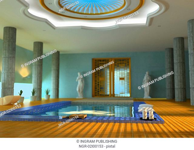 modern luxury spa interior with DOF effect( 3d rendering )