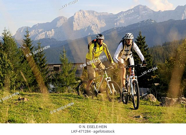 Mountain bikers passing Winklmoosalm, Lofer Mountains in background, Chiemgau, Upper Bavaria, Germany