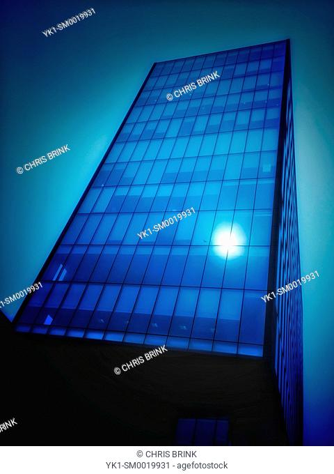 Reflecting sun in office building, Liverpool UK