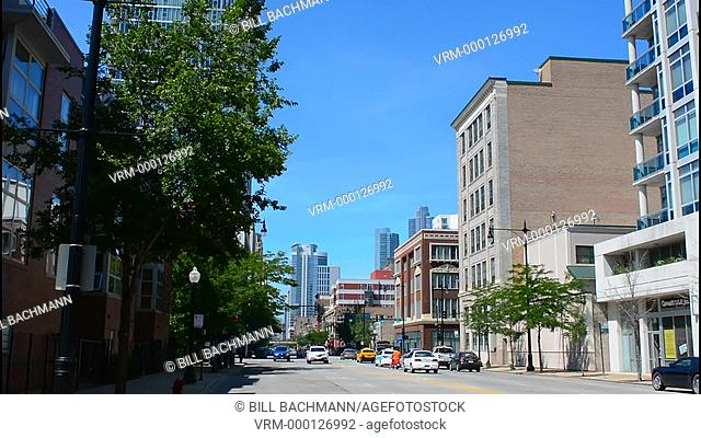 Chicago Illinois skyline Michigan Avenue traffic with skyscrapers
