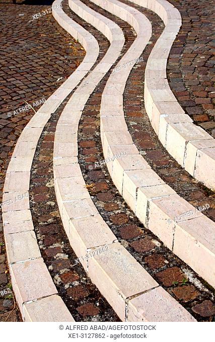 stairs in the square, Avigliano, Potenza, Italy